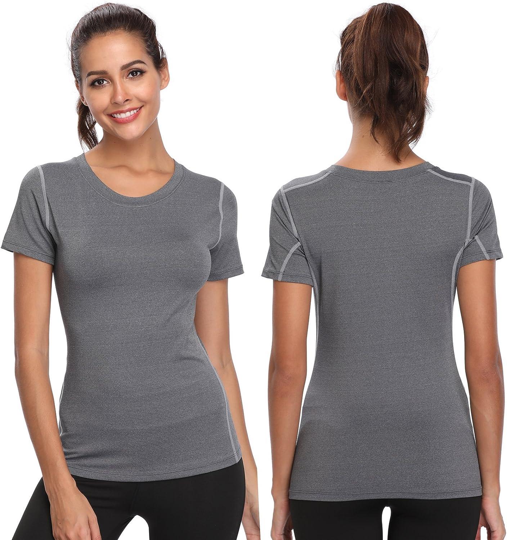 Gregster Damen Sportshirt V-Ausschnitt Sport T-Shirt kurzarm atmungsaktiv Laufshirt f/ür Fitness