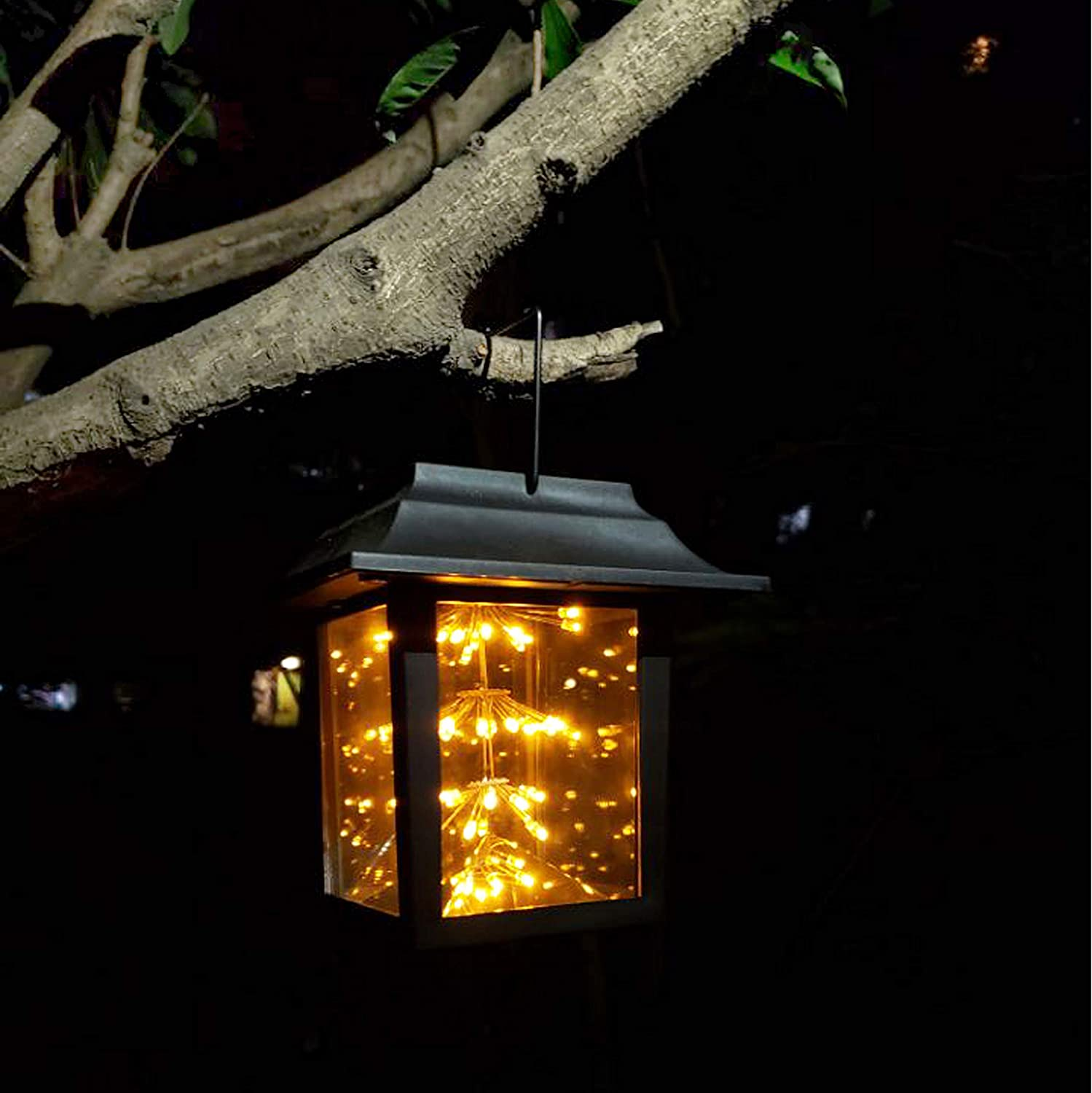 Solar Outdoor Lantern, Waterproof Hanging Solar Lantern with Fairy Copper String Lights for Patio, Garden, Lawn, Pathway (Yellow)