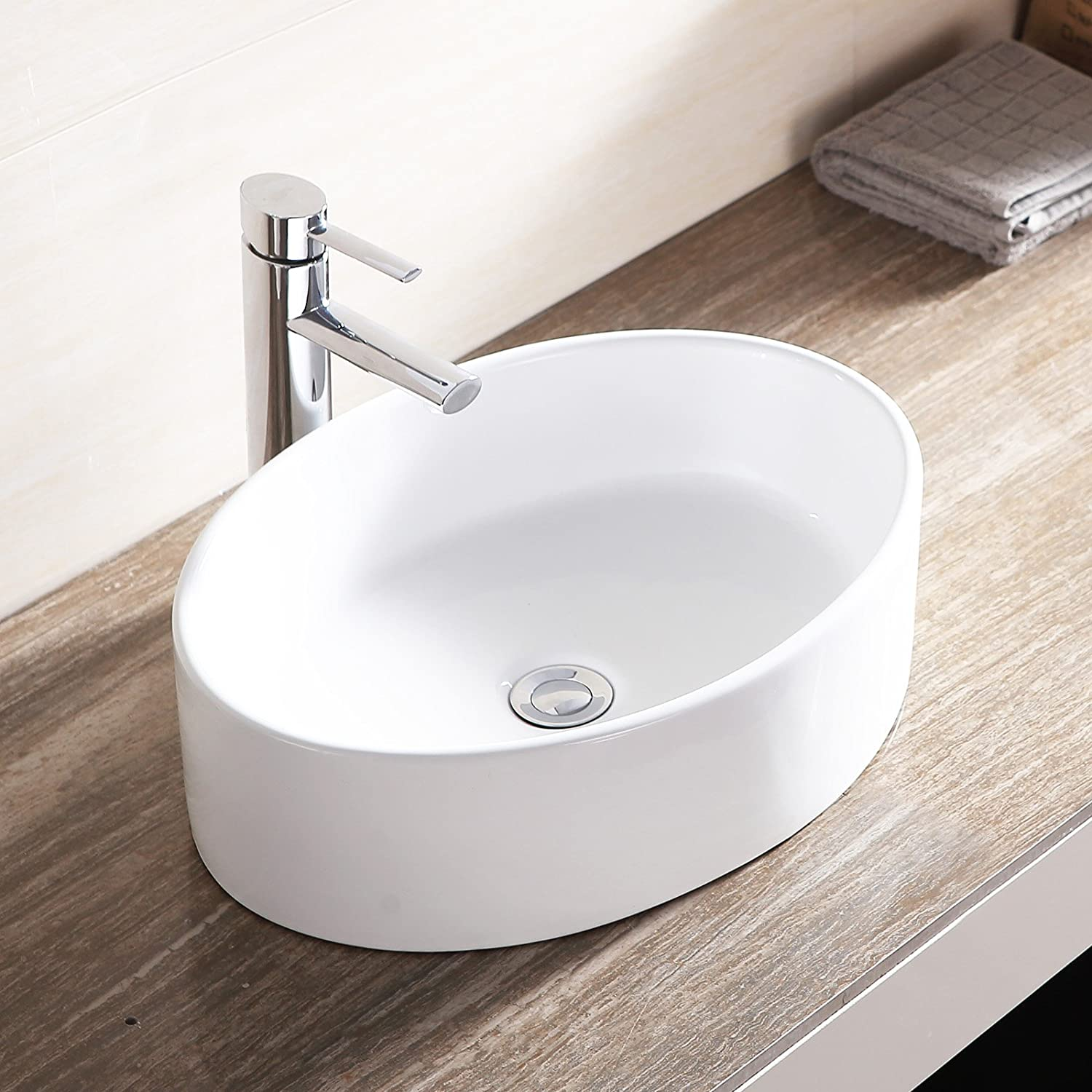 WaaGee Oval White Porcelain Bathroom Ceramic Vessel Sink Bowl Basin W/Pop  Up Drain     Amazon.com