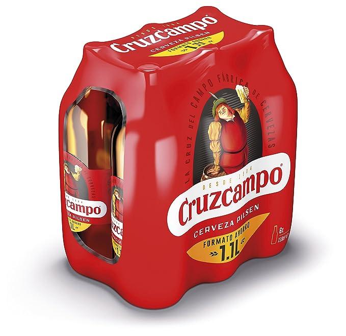 Cruzcampo Cerveza - Caja de 6 x Botellas 1.1 L- Total: 6.6 L