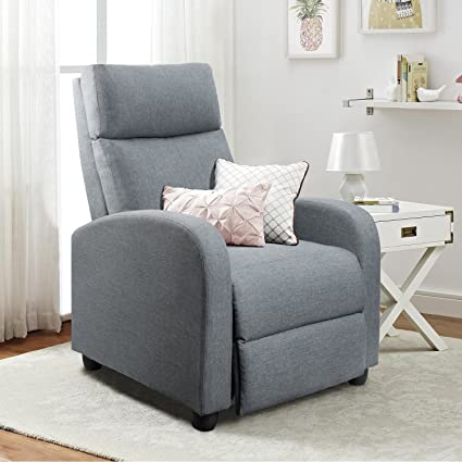 Homall Manual Recliner Chair Padded Seat Grey Tufted Fabric Home Theater Recliner  Modern Recliner Sofa Seat