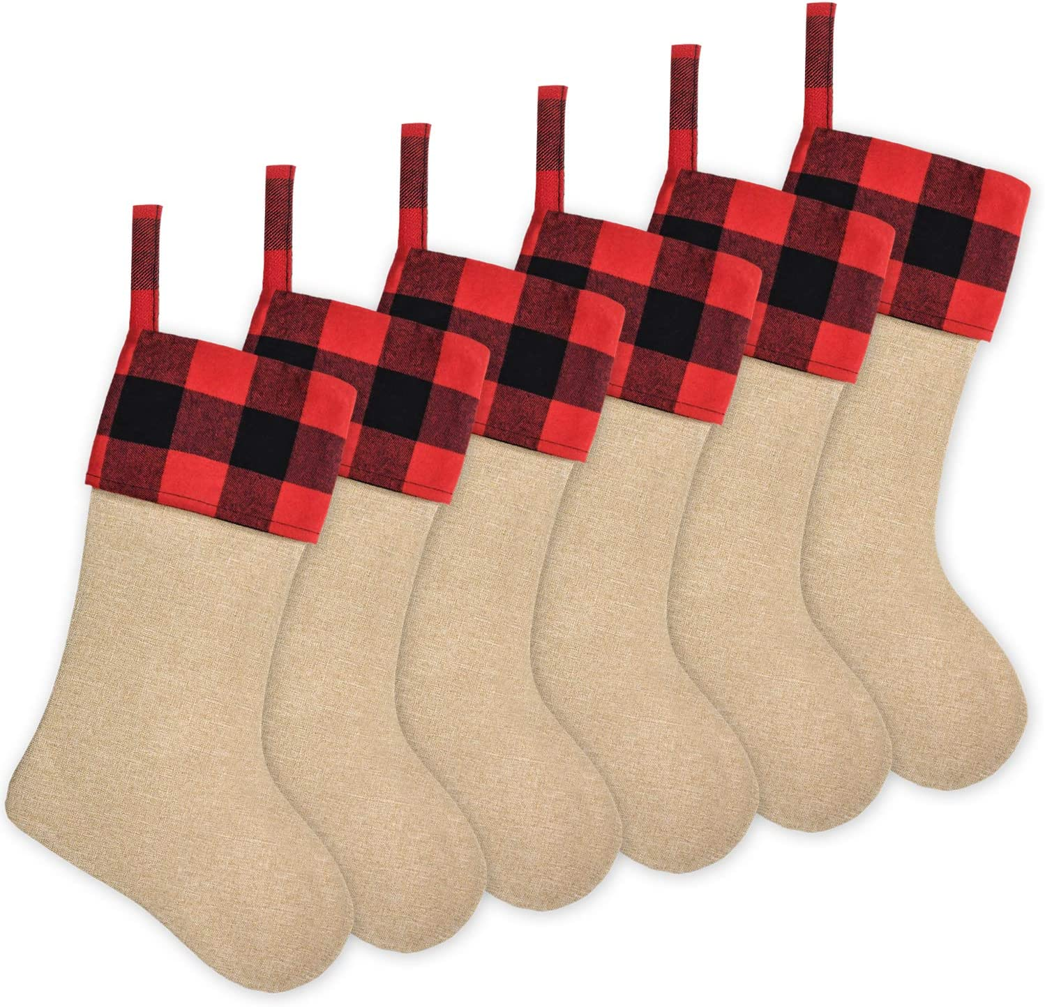 Senneny 6 Pack Burlap Christmas Stockings- 18 Inch Big Christmas Stockings with Buffalo Check Cuff Fireplace Hanging Stockings for Family Christmas Decoration Holiday Season Party Decor
