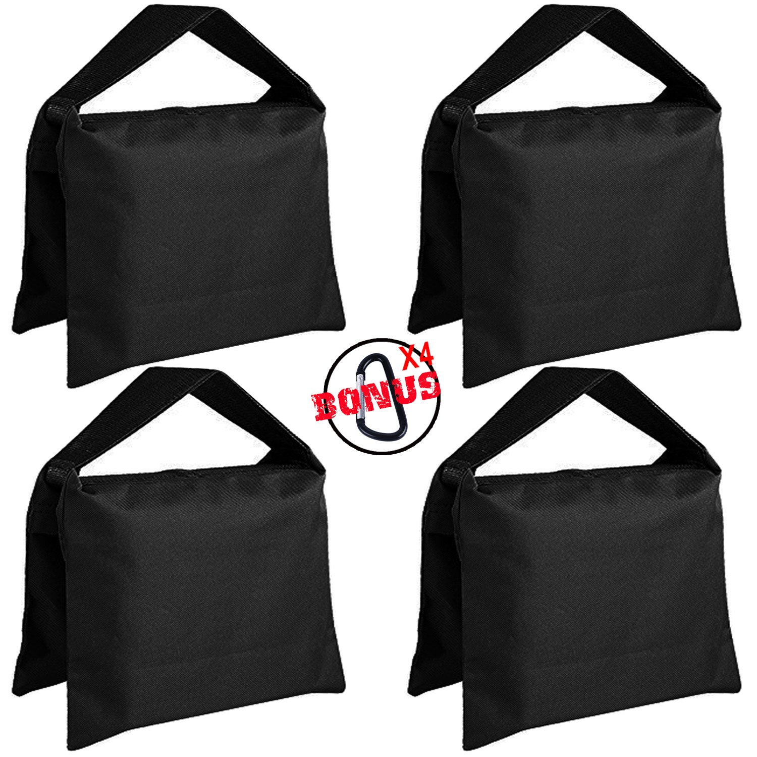 Super Heavy Duty ABCCANOPY Sandbag Saddlebag Design 4 Weight Bags For Photo Video Studio Stand (black) by ABCCANOPY