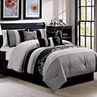 7 Pieces Luxury Leaves Scroll Embroidery Bedding Comforter Set