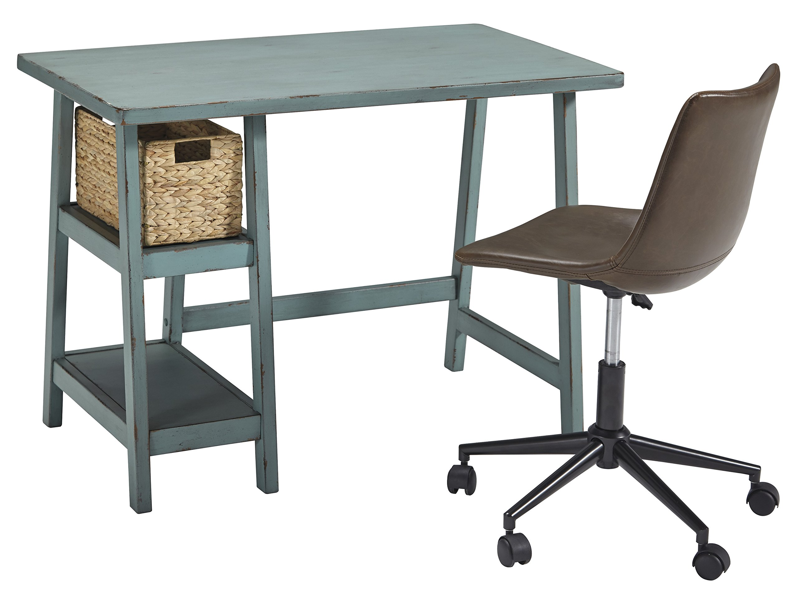 Ashley Furniture Signature Design - Mirimyn Small Home Office Desk - 2 Shelves - Includes Brown Basket - Distressed Antique Teal by Signature Design by Ashley (Image #2)