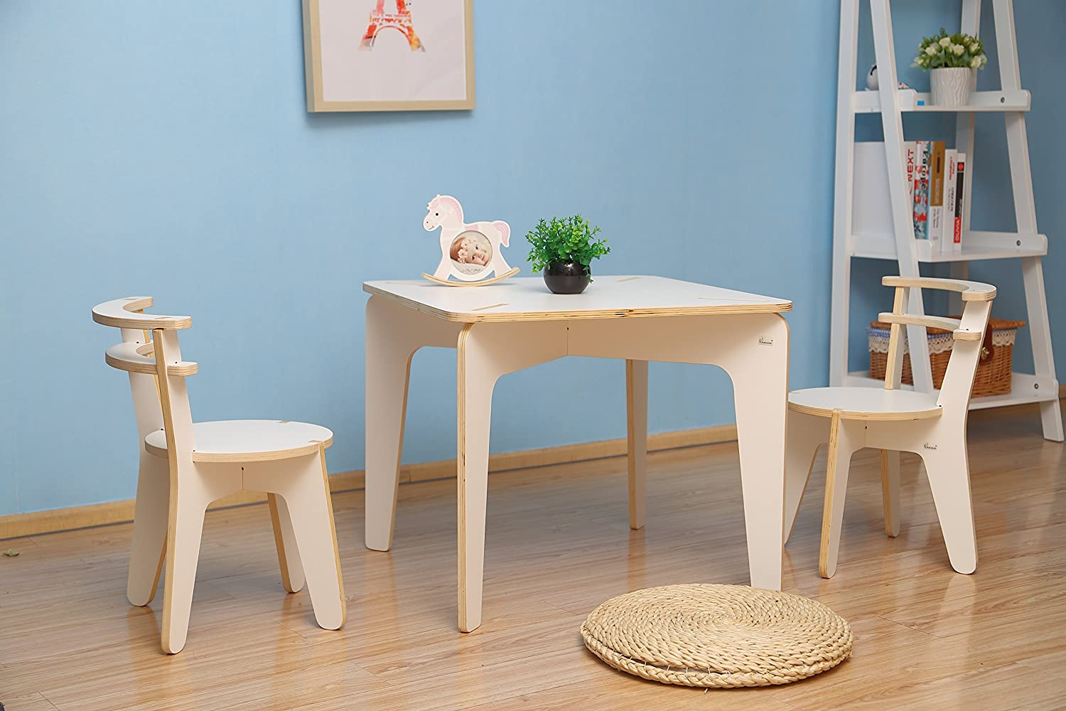 Amazon.com: Kids Wooden Table and Chair Set - Baby Activity ...