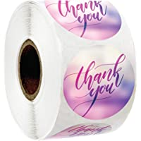 """Thank You Sticker Labels 1.5"""" Round with Blurred Background 
