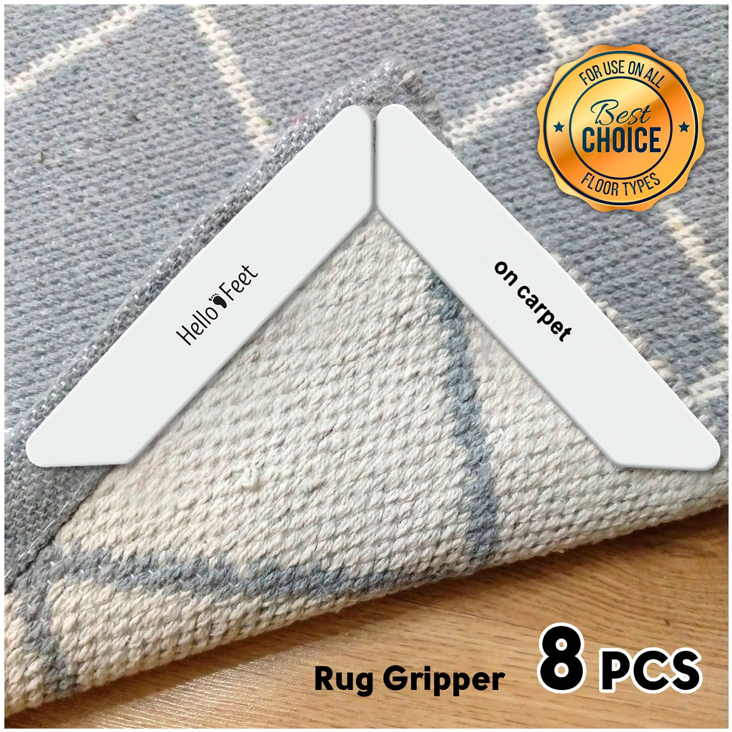 Hello Feet Rug Gripper - Anti Curling Non Slip Carpet Anchors (8 pcs) - Super Sticky Reusable Rug Holders - Perfect for Wood Tile Laminate Floor - Flatten Corners and Stop Slipping Pads