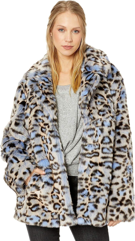 70a9fdd60b11 Avec Les Filles Women's Leopard Print Faux Fur Coat Blue Leopard Medium at  Amazon Women's Coats Shop