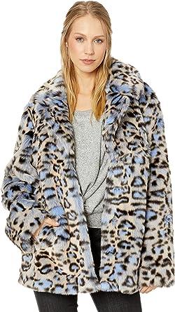 bb61a4b0a84d Avec Les Filles Women's Leopard Print Faux Fur Coat Blue Leopard Medium