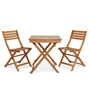 Garden Table And 2 Chairs Outdoor Folding Furniture Wooden Bistro