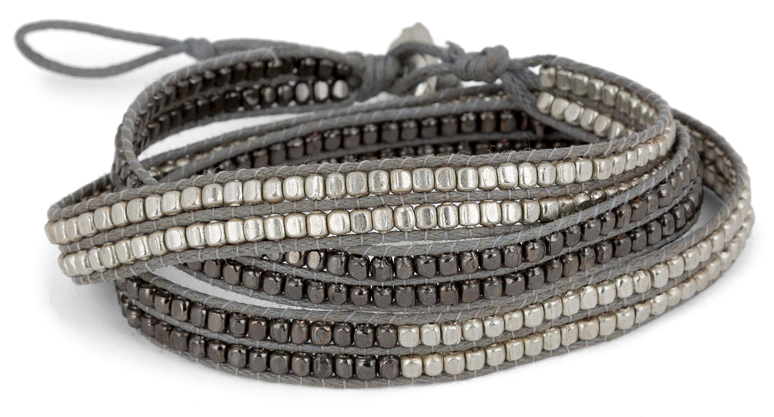 SPUNKYsoul New! Handmade Boho 3 Wrap Bracelet Silver and Gun Metal Silver for Women Collection by SPUNKYsoul
