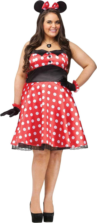 Plus Retro Miss Mouse Costume Plus Red