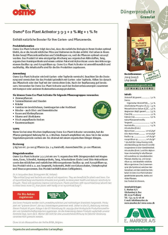Osmo Bio Plantas Activador con Mykorrhiza 3-3-3 + 3% Mg + 1% Fe 700g Root Booster orgánica. Activador de suelo. Mejorador de suelos para macetas rosas y ...