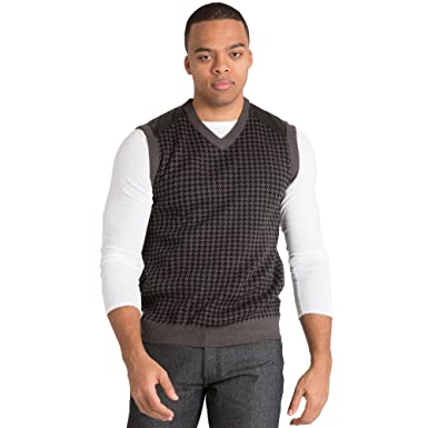 Vibes Gold Label Mens Black/ECRU Duotone Houndstooth High-V Neck ...