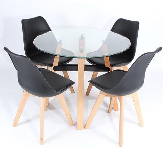 Charles Jacobs - mesa comedor redonda con cristal templado para ...