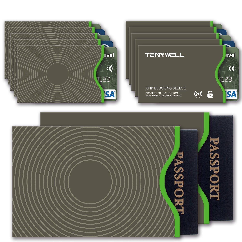Tenn Well Lot de 10 étuis de protection pour cartes de crédit et de 2 étuis pour cartes d'identité/passeport Blocage technologie RFID