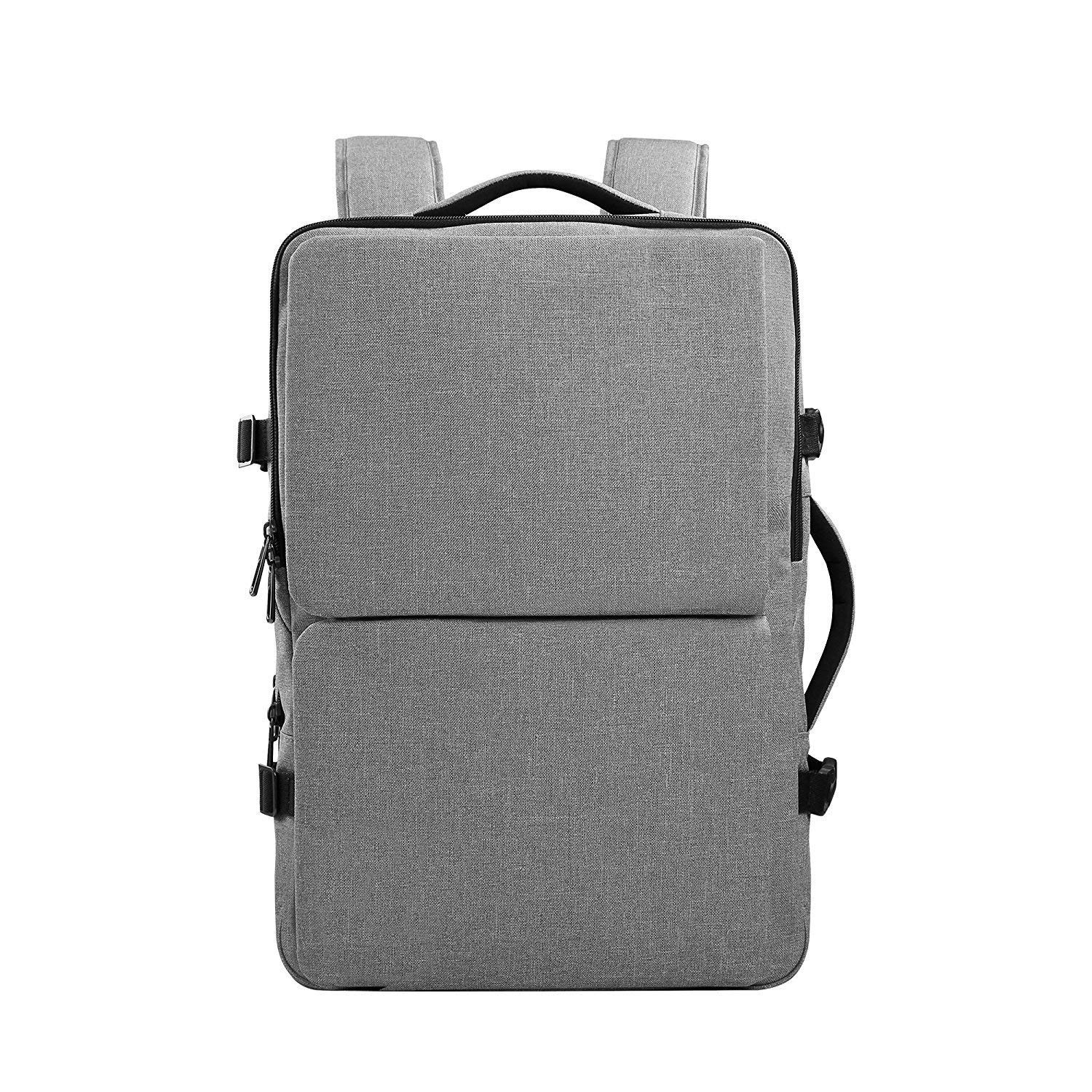 Cai Unisex College Bag, Large Travel Laptop Backpack 15 Inch 17 Inch Computer Water Resistant Rucksack 15, Light Grey