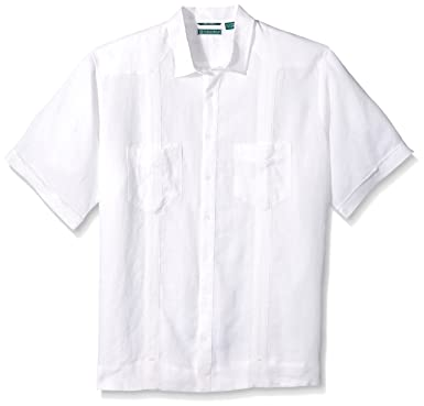 079448ce00 Cubavera Men s Big Short Sleeve 100% Linen Guayabera Shirt with Two Top  Pockets