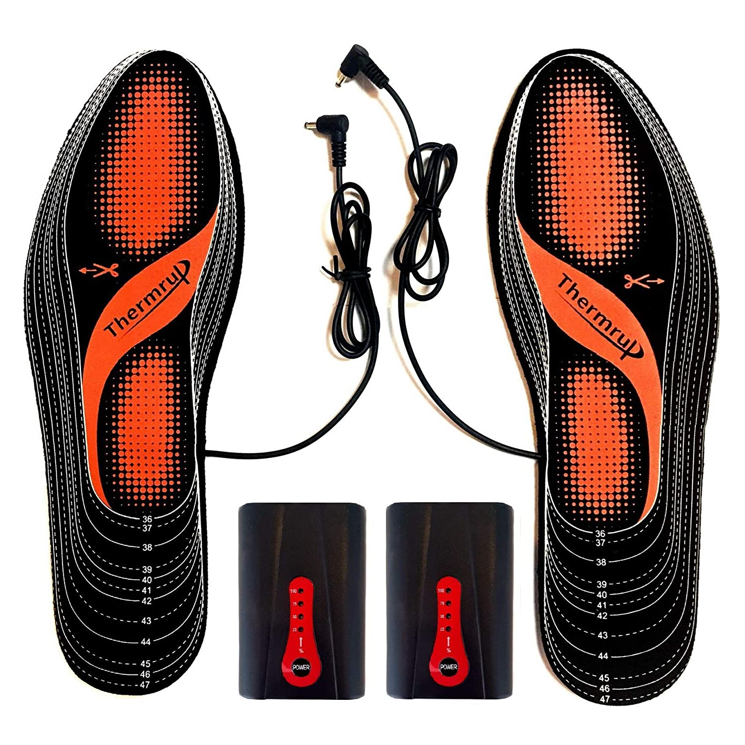 Thermrup Electric Heated Insole Foot Warmers Rechargeable Li-Ion Battery(4 Temperature Settings) Size 4.5-14, High Temperature