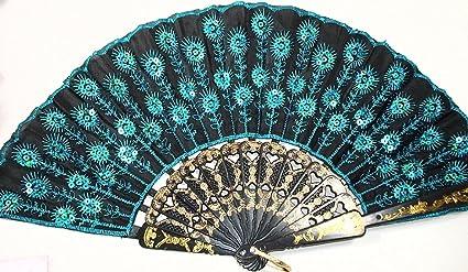amazon com doopootoo peacock pattern sequin fabric hand fan