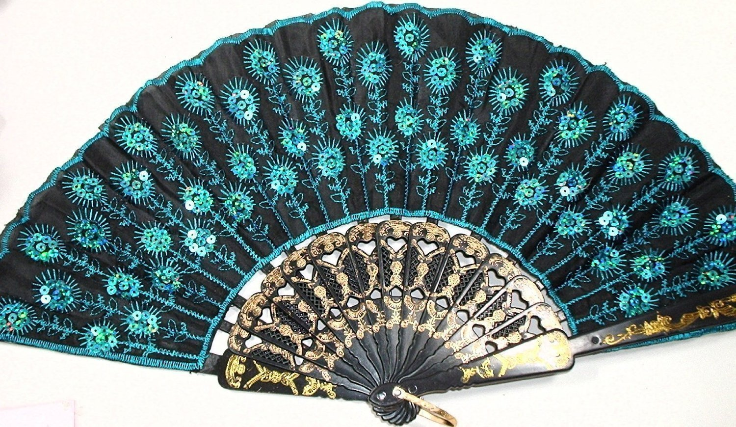 doopootoo Peacock Pattern Sequin Fabric Hand Fan Decorative Fashionable (New Blue)