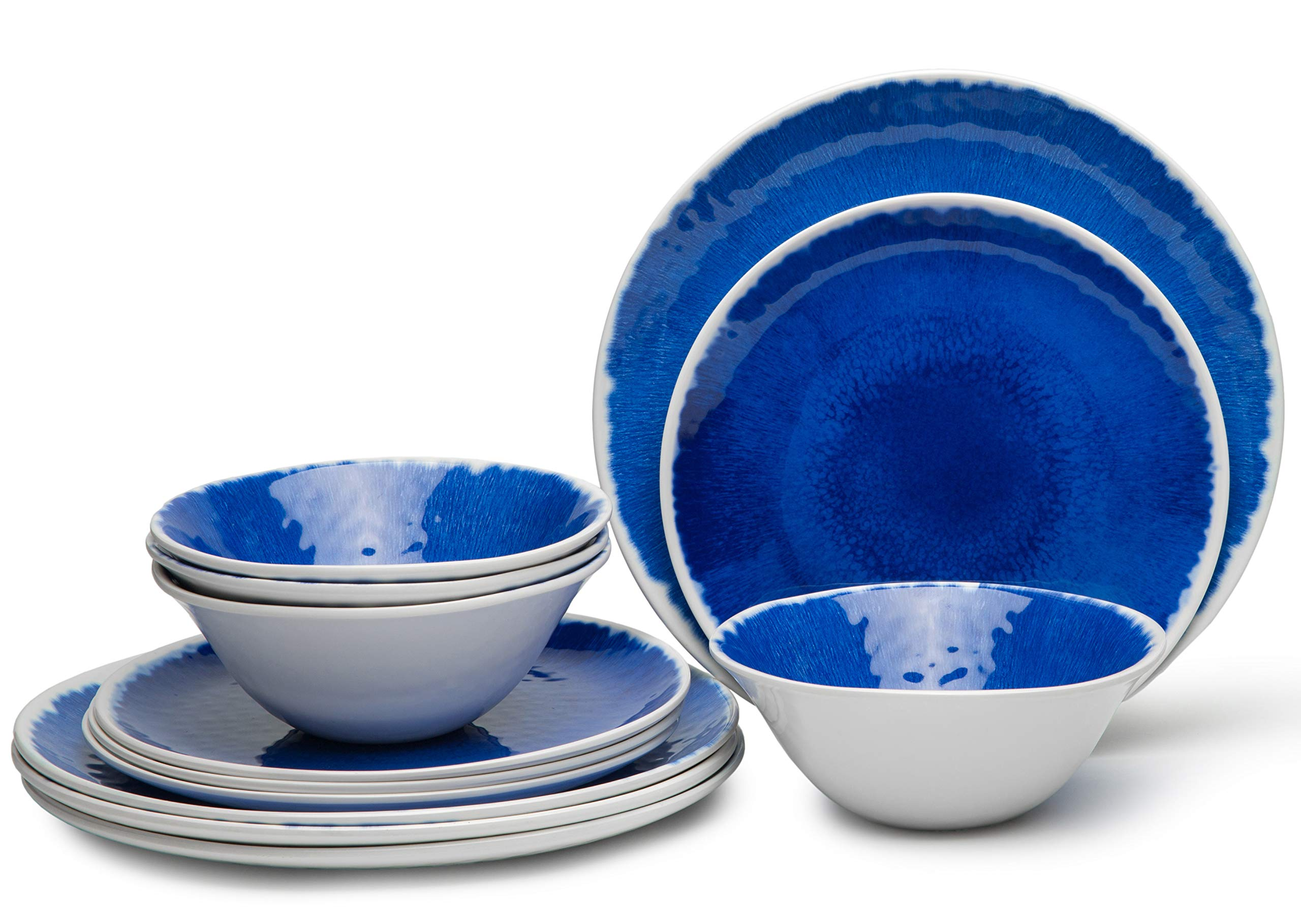 12-Piece Melamine Dinnerware Set, Dinnerware Set for 4, Dishwasher Safe, BPA free,Unbreakable,Blue - This dinnerware set includes: 4 pcs 6-3/4-inch creal/soup bowls, 4 pcs 9 inch dessert plates, 4 pcs 10-3/4-inch dinner plates. 12 piece dinnerware set are great for RV, camping, picnics, tailgating, any indoor and outdoor activities. Durable Break & Chip Resistant Melamine Material. Dishwasher-safe and Lightweight,easy to hand wash. - kitchen-tabletop, kitchen-dining-room, dinnerware-sets - 81CLGMWNP6L -