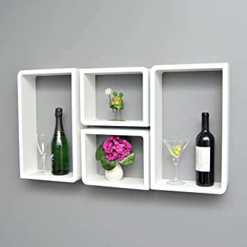 Set di 4 mensole da parete a cubo in stile retró, design lounge ...