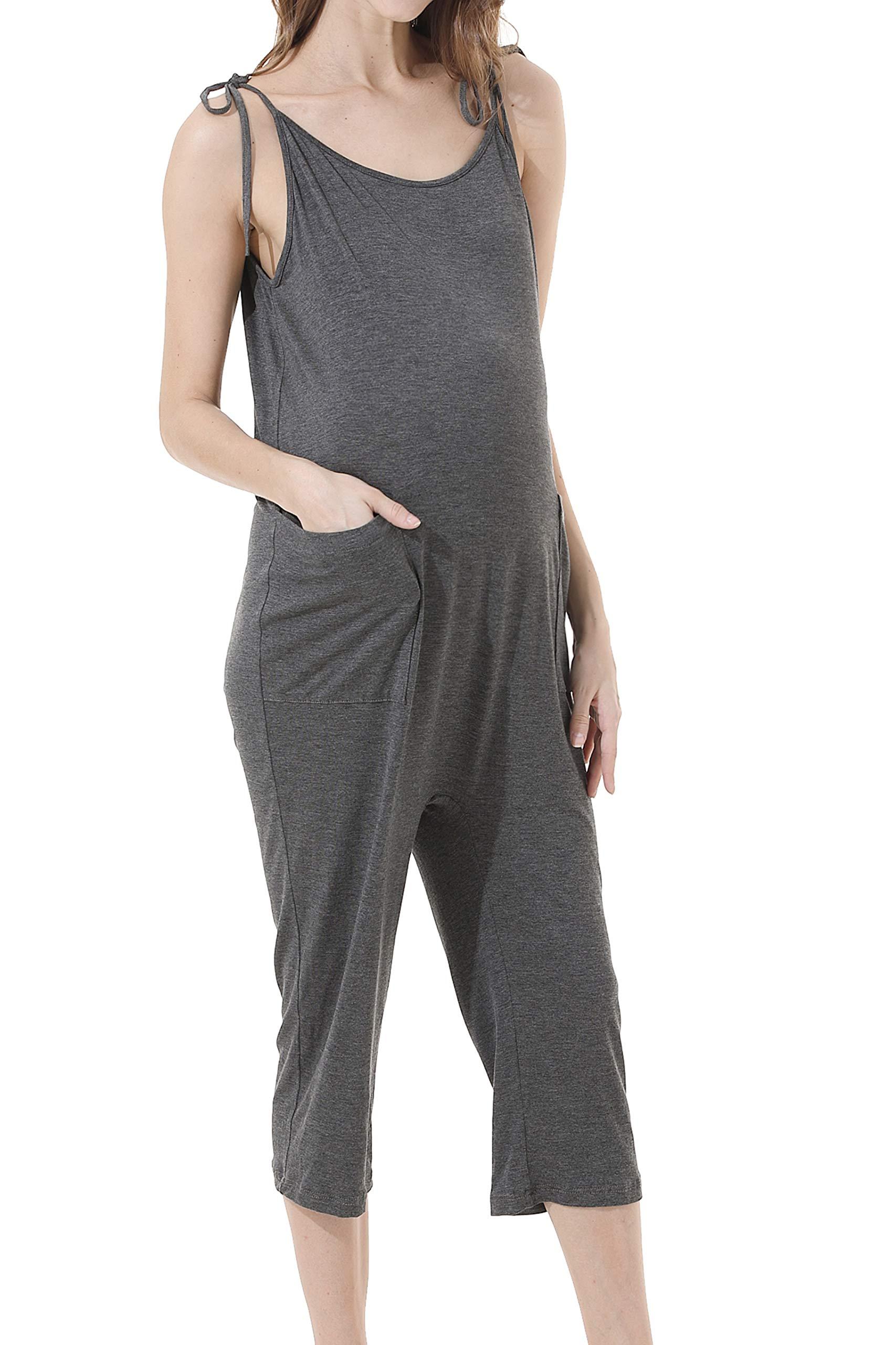 Avv Women's Casual Elegant Spaghetti Strap Loose Jumpsuit Romper with Pockets (Gray, S)
