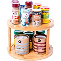 Lazy Susan Turntable Spice Rack Bamboo Spinning Spice Rack Holder Kitchen Cabinet