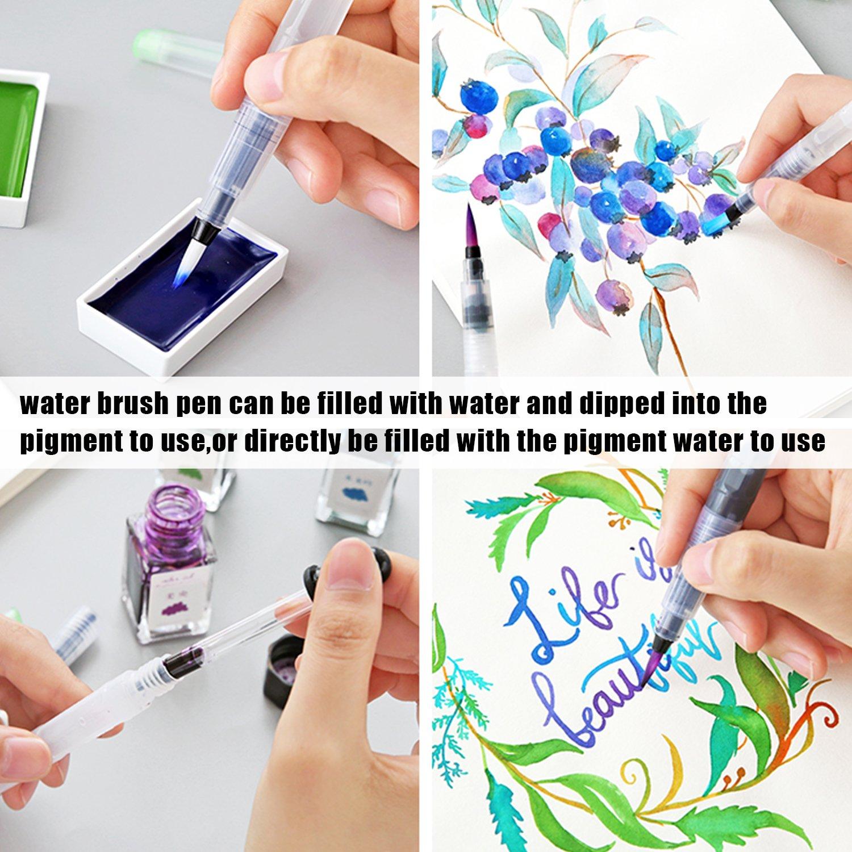Arte Pincel de Agua Caligraf/ía Orlegol 6 Piezas Pinceles Acuarela Rellenable Recargable Pinceles de Agua Suave Nylon Water Brush Pens Set para Pinturas de Acuarela