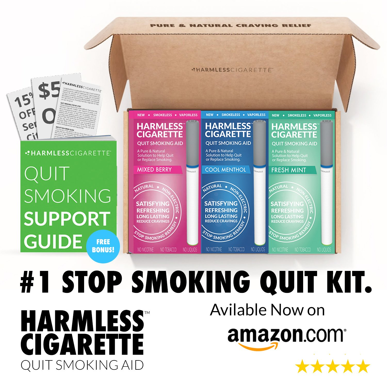 Quit Smoking Aid/Natural Habit Replacement/Stop Smoking Remedy To Help You Quit Smoking Fast & Easy. Now Better Than Nicotine Patches, Nicotine Gum & Lozenges (Best Value, 3 Pack Quit Kit)