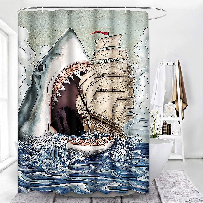 ArtSocket Shower Curtain Sharks Ship Floating Sea Blue Adventure Beautiful Black Boat Waterproof Polyester Fabric Bathroom Decor Bath 72 x 72 Inches Set with Hooks