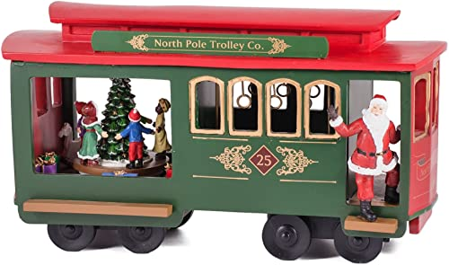 11.25 Musical Lighted North Pole Trolley Cart with Santa Claus Christmas Deco