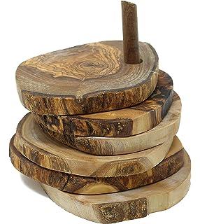 Compra Naturally Med NM/OL995/B - Juego de 4 Posavasos de Madera de Olivo rústico en Amazon.es