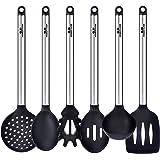 GA Homefavor Chef Buddy 6 Piezas de Cocina Juego de Herramientas de Acero Inoxidable Utensilios de Cocina Silicona Resistente al Calor Negro