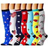 CHARMKING Compression Socks 15-20 mmHg is BEST Graduated Athletic & Medical for Men & Women Running, Travel, Nurses, Pregnant - Boost Performance, Blood Circulation & Recovery(Small/Medium,Assorted 5) (Color: 03 Blue/White/Navy/Red/Sky Blue/Yellow/Gray, Tamaño: Small/Medium (US Women 5.5-8.5/US Men 5-9))
