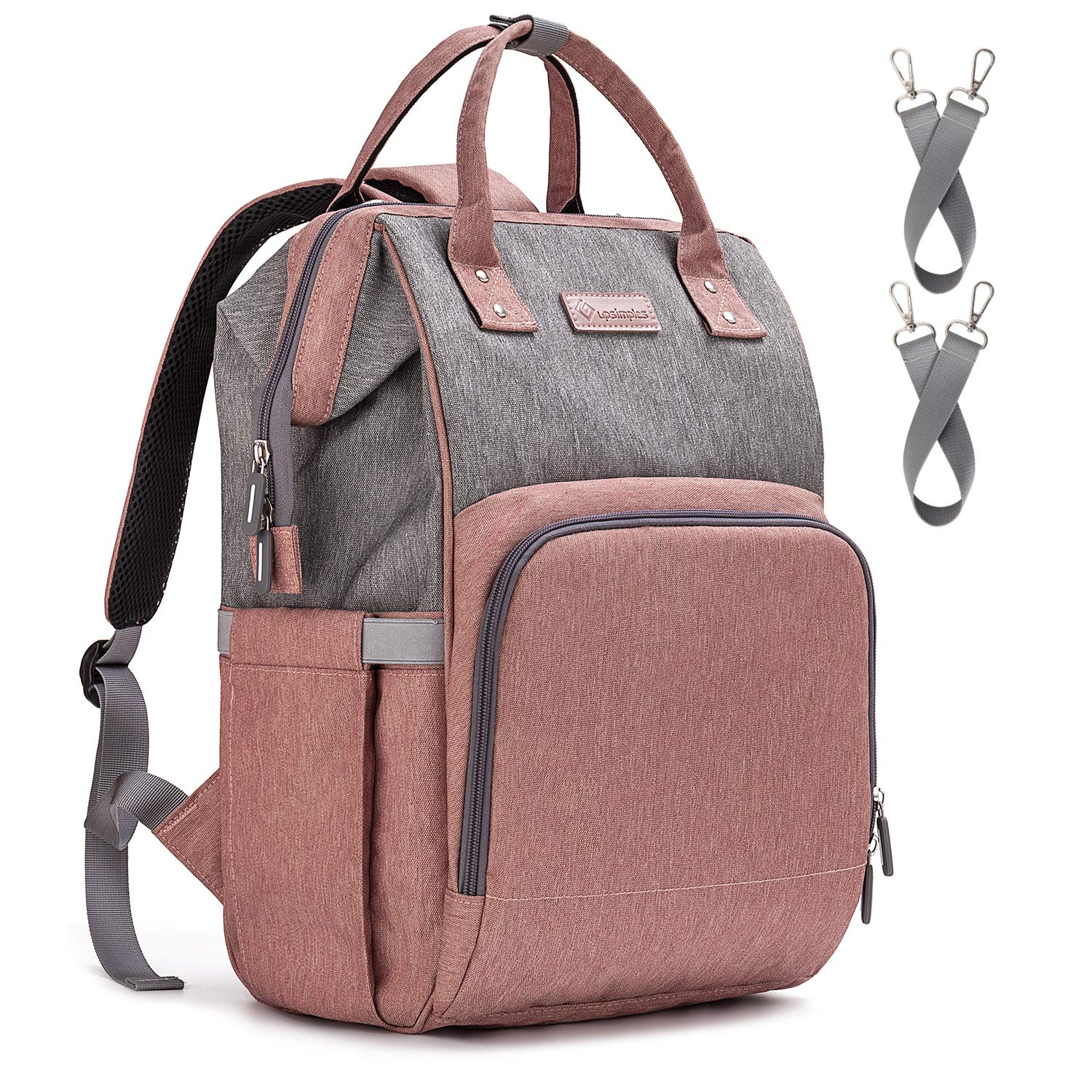 Diaper Bag Backpack Nappy Bag Upsimples Baby Bags for Mom Maternity Diaper Bag with USB Charging Port Stroller Straps Thermal Pockets Wide Shoulder Straps Water Resistant  Pink by upsimples (Image #1)