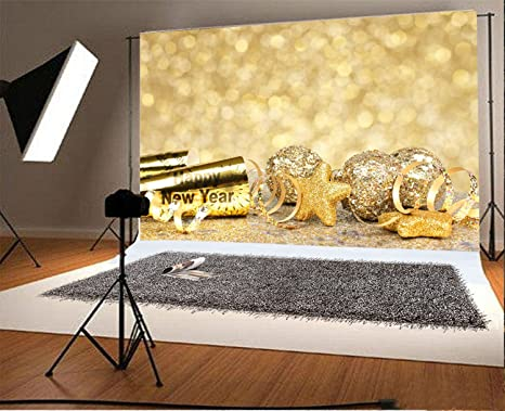 laeacco 7x5ft vinyl backdrop photography new years eve border confetti and golden decorations twinkling gold background