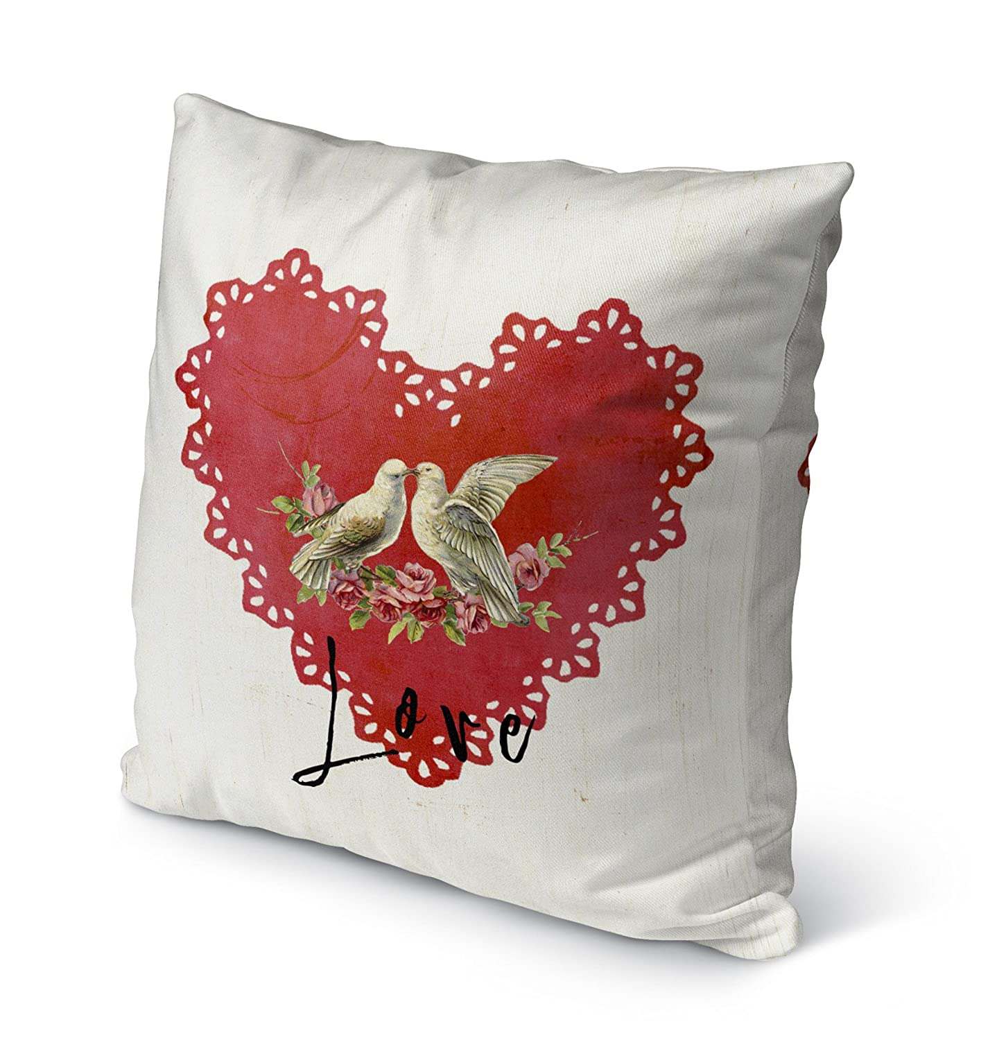 TELAVC8159OP18 KAVKA Designs Love Birds Indoor-Outdoor Pillow, Size: 18X18X6 - Red//Tan//Black - TRADITIONS Collection