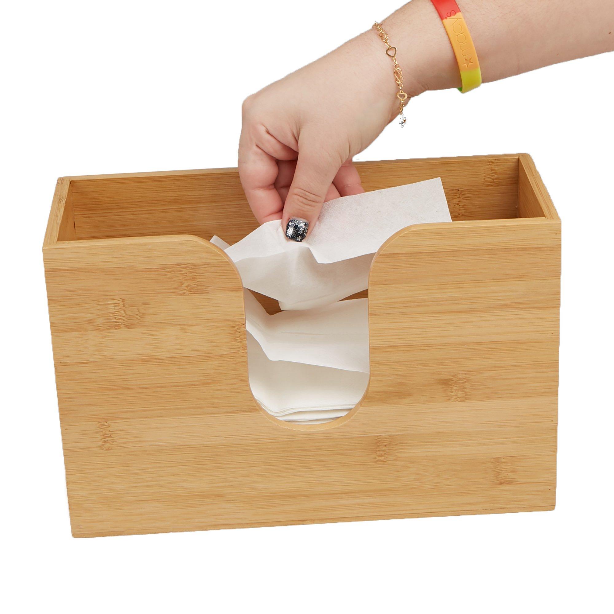Mind Reader Bamboo Wall Mount Interfold Napkin Dispenser Organizer, Brown by Mind Reader (Image #2)