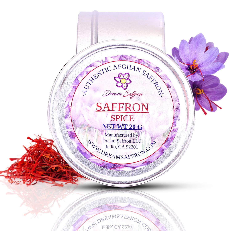 Dream Saffron, High-Quality Red Saffron (20 Grams), Premium Gourmet Quality Afghan Saffron, Super Negin Grade A+, All Natural, No Preservatives, Red Stigma Of Crocus Sativus