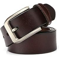 KeeCow Cinturones Para Hombre,Correa de Hebilla de Pin de Aleación Para Jeans,Trajes, Ropa Informal y Formal,Café/Negro,Se Ajusta a Una Cintura De 48 Pulgadas
