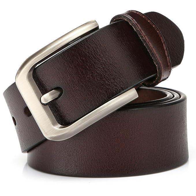 KeeCow Cinturones Para Hombre,Correa de Hebilla de Pin de Aleación Para Jeans,Trajes, Ropa Informal y Formal,Café/Negro,Se Ajusta a Una Cintura De 48 ...
