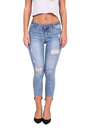 8926d9dea1f Celebrity Pink Jeans Women Middle Rise Distressed Ankle Skinny Jeans with  Step Release Hem 5 Light