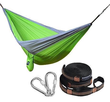 ineibo double camping hammock with screw lock carabiners and straps hanging hammock  portable  u0026 amazon    ineibo double camping hammock with screw lock      rh   amazon