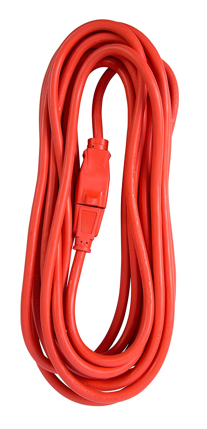 Bergen Industries Heavy-Duty Outdoor Single Receptacle Extension Cord, 25', 14 AWG, 15A/125V AC, Orange 25' OC25143
