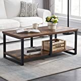 MHAOSEHU Industrial Coffee Table for Living Room, Sturdy Wood and Metal Cocktail Table with Open Storage Shelf, 47 inch Rusti