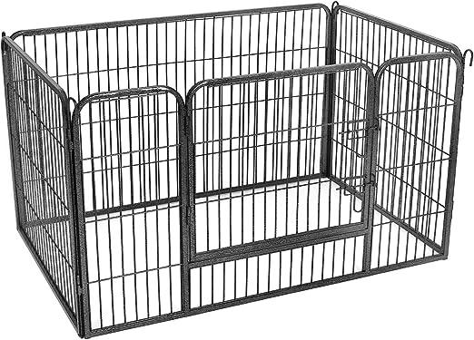 FEANDREA Valla para Perros Valla para Mascotas Plegable, Parque para Mascotas, Jaula para Perros, Paneles de Alambre metálicos, Gris 122 x 80 x 70 cm PPK04GY: Amazon.es: Productos para mascotas