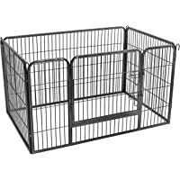 FEANDREA Valla para Perros Valla para Mascotas Plegable, Parque para Mascotas, Jaula para Perros, Paneles de Alambre metálicos, Gris 122 x 80 x 70 cm PPK04GY